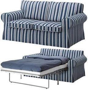 Ikea ektorp sofabed cover byn blue 2 seat sofa bed slipcover abyn striped new ebay Hide a bed couch ikea