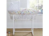 Clair-de-lune White wicker Moses basket and stand