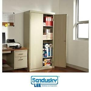 """NEW* SANDUSKY STEEL STORAGE CABINET RTA7000-07 211370818 36"""" x 18"""" x 72"""" PUTTY QUICK SNAP ASSEMBLY GARAGE CABINETS OR..."""