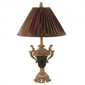 Bronze & Black Marble Urn Lamp With Shade