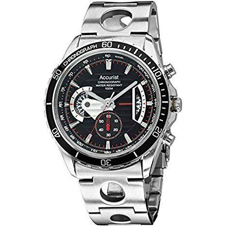 mens accurist chronograph multi dial bracelet watch mb1015b men s accurist black dial chronograph watch mb1015b rrp £150