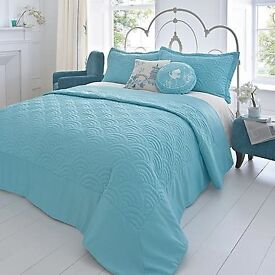 KALEIDOSCOPE ORIENT DOUBLE BEDSPREAD IN DUCK EGG 244CM X 264CM - Brand New In Packaging