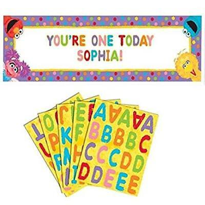 Sesame Street Giant Sign Banner Personalize It 5 Foot Birthday Party Supplies ()
