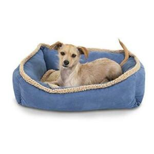 (DI19) New, Aspen Pet Bedding Rectangular Lounger, Blue/Brown Small  L-20 x W-16 inches- PICK UP ONLY!!