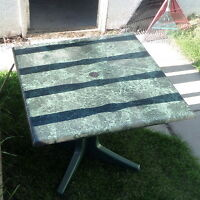 2 HIGH QUALITY GREEN MARBLE LOOK PATIO TABLES ALSO GREEN CHAIRS