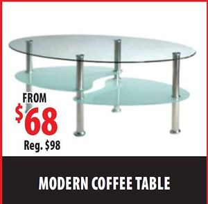 Brand new Tempered Glass Oval Coffee Table $68 ONLY