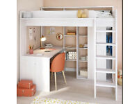Single Loft Bed High Sleeper + Desk + Wardrobe + shelves can delivery