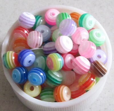 250pcs stripes resin 8mm round beads Jewelry Mix Colours stripes resin  M84 on Rummage