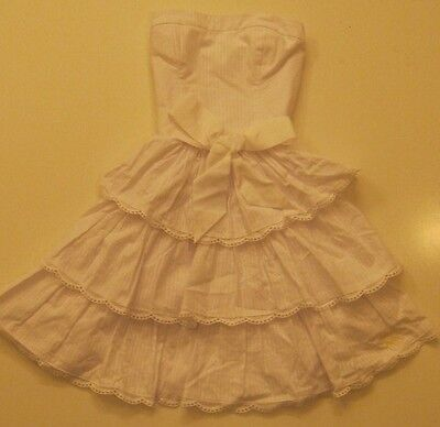 NWT Abercrombie Fitch Women Mini Tiered Strapless JOSEY Dress XS White Belted on Rummage