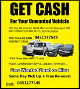 Cash For Unwanted Car removals UpTo $8999 Macquarie Fields Campbelltown Area Preview