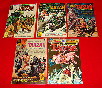6 Vintage Tarzan of the Apes Comic Books Gold Key 1966-75 Silver / Bronze Age +1