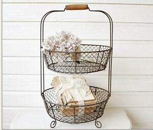 French Farmhouse Two Tiered Vintage Style Wire Vegetable