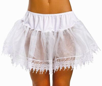 White Mid-Thigh Length Teardrop Lace Crinoline Petticoat, Leg Avenue 8999S, 1 Sz](Mid Length Petticoat)