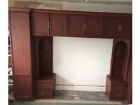 Mohogney over bed unit with single wardrobe in excellent condition