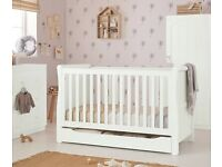 Mothercare Chiltern Sleigh Cot Bed White converts to toddler bed wi