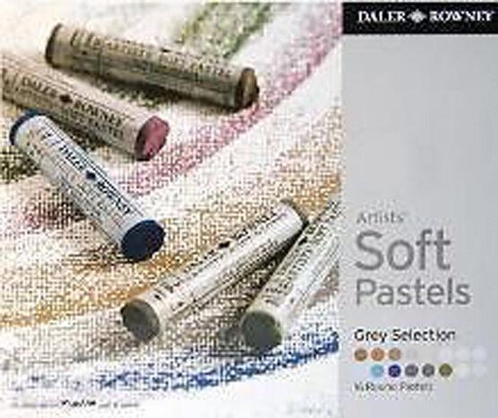 Daler Rowney Soft Chalk Pastel Set - 16 Grey Shades