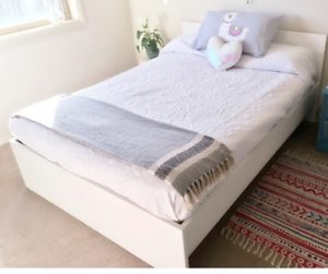 FREE DELIVERY DOUBLE MATTRESS AND BED FRAME WHITE COLOR