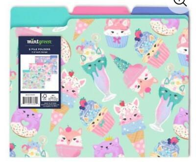 New 6 Decorative File Folders With Cute Cat Kitten Ice Cream Motifs- 3 Colors