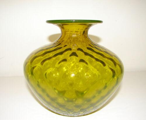 Mid 20th Century Pilgrim American Art Glass Diamond Optic Yellow Bottle Vase