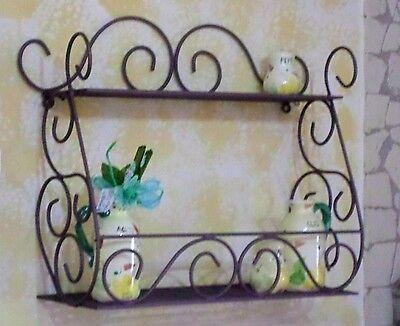 mensola in ferro battuto 2 ripiani da parete bronzo fioriera giardino cucina