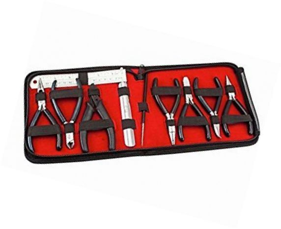 10-piece Expert's Jewellery Making Tools Pliers Kit Set with BLACK Handles & All
