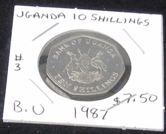 #3 BEAUTIFUL & BRILLIANT 1987 UNCIRCULATED Uganda 10 SHILLINGS COIN  KM# 30