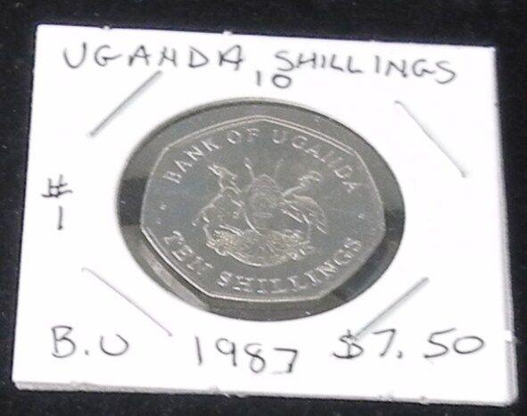 #1 BEAUTIFUL & BRILLIANT 1987 UNCIRCULATED Uganda 10 SHILLINGS COIN KM# 30