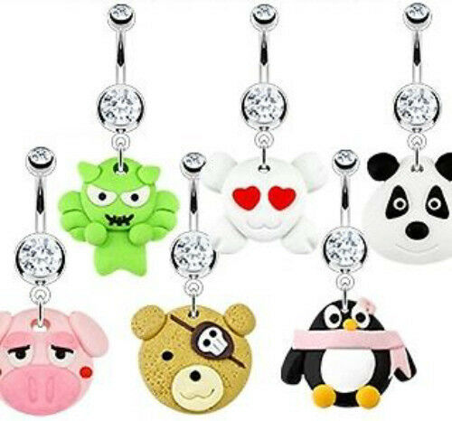 B#299 - 6pcs Hardened Clay Character Style Dangle  Belly Rings Navel naval