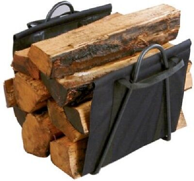 (1) NEW PANACEA FIREPLACE LOG TOTE WITH BLACK STEEL STAND FOR FIREWOOD - 15216