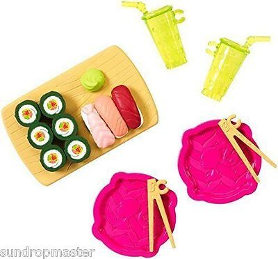 NEW! BARBIE MINI DOLL HOUSE ACCESSORY PACK ~ SUSHI LUNCH SET ~ Mattel