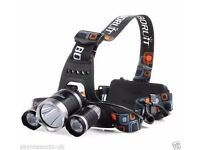 BORUIT Rechargeable Headlight Headlamp 5000 Lumens With UK Charger + 2 Batteries