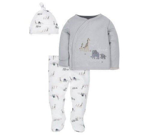 Gerber Baby Boy 3-Piece Organic Cotton Gray Take Me Home Set