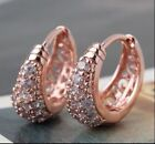 Hoop Sapphire Rose Gold Filled Fashion Earrings
