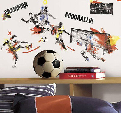 MEN'S SOCCER CHAMPION PLAYER wall stickers sports decor 53 decals teen ball net - Soccer Ball Wall Stickers