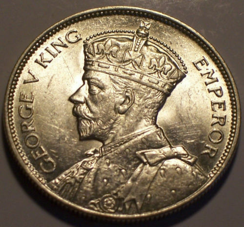 British Rhodesia, 1936 George V Half Crown, 1/2 Crown. 518,000 Mintage.