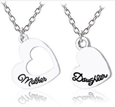New 2pc Mother Daughter Necklace Set Matching Heart Friendship Best Friend BFF