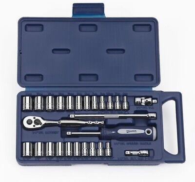 27pcs 14 Drive Sae Metric Supertorque 12 Point Sockets Drive Tools Set