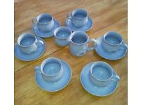 Denby daybreak cups and saucers, sugar bowl and jug plus gravy boat and dish set.