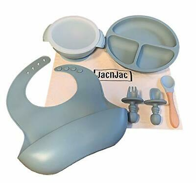 Silicone Baby Feeding Set Adjustable Bib Suction Bowl Sold with a Cotton Bag