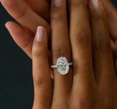 4.40 Ct Oval Brilliant Cut Diamond Micro Pave Engagement Ring Set 14K I,VS2 GIA