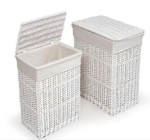 Large White Wicker Basket Ebay