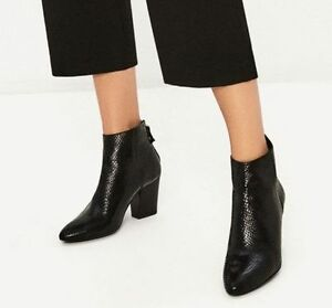 ZARA NEW EMBOSSED LEATHER HIGH HEEL ANKLE BOOTS/BOOTIEBLACK 6142