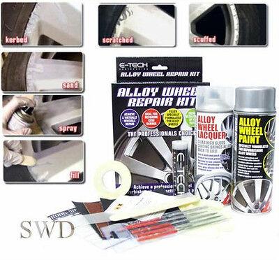 full alloy wheel kerb damage repair kit car garage ETECH metallic silver refurb