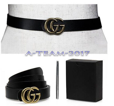 "Womens Genuine Leather Thin Belts For Jeans 0.9 Belt For Women's Pants ""GG"" HOT"