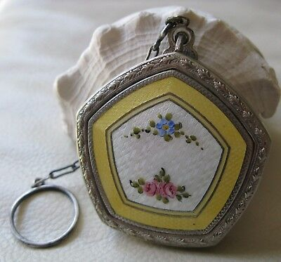 Antique Silver T Yellow White Pink Guilloche Enamel Finger Ring Dance Compact