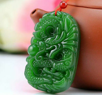 100% Natural green Chinese Hetian Jade 100% Hand-carved dragon Pendant