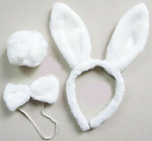 EASTER Plush Bunny White Rabbit Headband Ears Tail Fancy Dress Bow Tie Set Cute