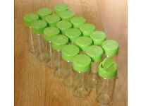 19 New Green Coloured Lid EMPTY Refillable Clear Glass Spices Herbs Jars Holders.