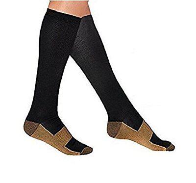 Copper Compression Socks Travel Knee High Varicose Veins Stocking Large/X-Large