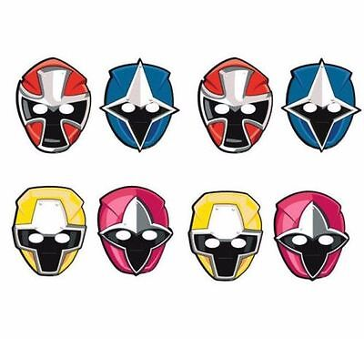 Power Rangers Ninja Steel Paper Masks Birthday Party Supplies ~ 8ct Party - Power Rangers Birthday Supplies